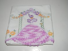 Vintage pillow case hand embroidered with crochet by FeliceSereno, $15.00