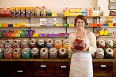 How to Start a Candy Store - Good Business Ideas - Resources for Entrepreneurs - Gaebler Ventures - Chicago, Illinois Retro Candy, Vintage Candy, Candy Store Display, Candy Room, Shop Apron, Penny Candy, Best Business Ideas, Candy Companies, Candy Making