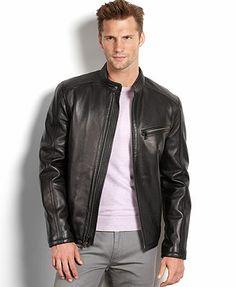 Tasso Elba Jacket, Lightweight Leather Jacket - Coats & Jackets ...