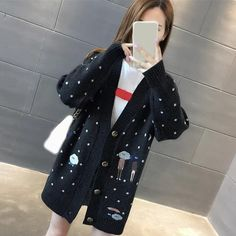 2019 Winter Casual Women Knitted Sweater Autumn Single Breasted Cardigans Sweater Loose Cartoon Embroidery Sweater
