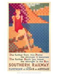 Art Print: Southern Railway for Sunshine at Home Or Abroad : 14x11in