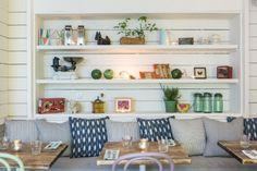 simple cozy white café interior