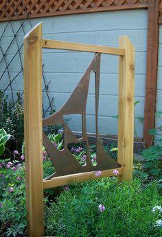 Garden Decor, Steel And Cedar, Trellis, Garden Art, Garden Screen, Modern Style…