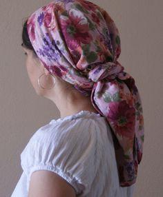 snood patterns | Headscarf Snood Veil Headcovering Israeli Tichel Scarf Floral Pattern