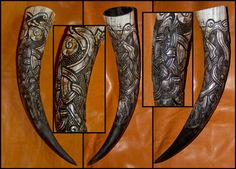 Norse and Viking Leather Art Bone Jewelry and Drinking Horns by Wodenswolf: Drinking Horns