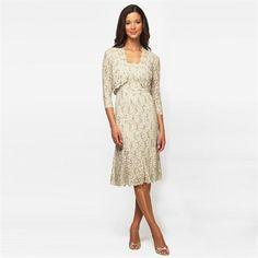 Alex Evenings Sparkle Lace Dress with Jacket #VonMaur #AlexEvenings #Champagne #Gold #Jacket