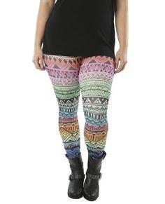 Wet Seal Women's Rainbow Ombre Tribal Plus Size Leggings OSFA Multi Colored