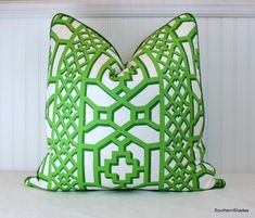 One or Both Sides - ONE High End Schumacher Zanzibar Trellis Matte in Jade Pillow Cover with Self Cording