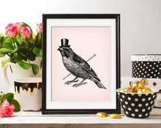 Sparrow Top Hat gentleman Bird 8x10 On the Pink Background & ClipArt Antique Retro Printable Image DIGITAL INSTANT DOWNLOAD graphic HQ300dpi by ZikkiArt on Etsy