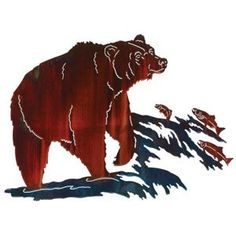 Going Fishin' Bear Metal Wall Art