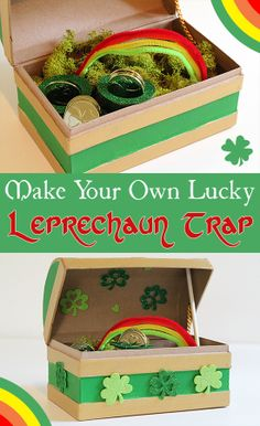 "Make a leprechaun trap like this one the day before St. Patrick's Day. Use a faux rainbow and some ""fool's gold"" as bait, then head to bed and wait to see what you get."