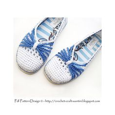 Blue Bow crochet Slipper pattern. Size Large. Cord-Soles attached for street-wear! by Ingunn Santini