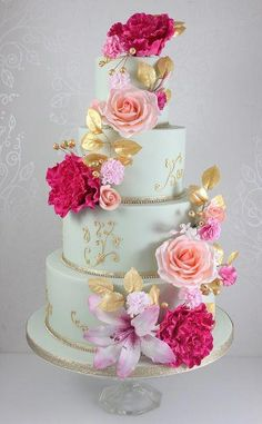 Wedding Cakes - The Fairy Cakery - Cake Decoration and Courses based in Wiltshir. - Wedding Cakes – The Fairy Cakery – Cake Decoration and Courses based in Wiltshire - Beautiful Wedding Cakes, Gorgeous Cakes, Pretty Cakes, Amazing Cakes, Fondant Wedding Cakes, Fondant Cupcakes, Cupcake Cakes, Fondant Flower Cake, Bolo Floral