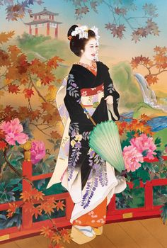 EuroGraphics Higasa by Haruyo Morita Jigsaw Puzzle * Check this useful article by going to the link at the image. Geisha Kunst, Geisha Art, Dmc Cross Stitch Kits, Monte Fuji, Art Asiatique, Art Japonais, Korean Art, Art Moderne, Japanese Painting