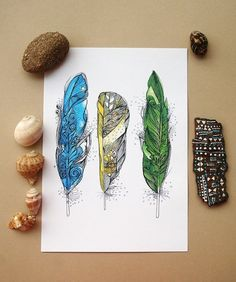 Dream Feathers. print. https://www.etsy.com/listing/196811807/dream-feathers-a4-size-print-ink-and