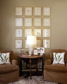 Custom Homes - KEVIN HARRIS ARCHITECT, LLC - Sitting Area with botanical prints