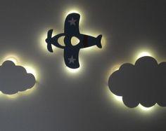 Nuvem e avião com luz de led jogo com 3