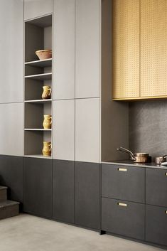 Bespoke storage wall with lots of hidden space, where your favourite things can be exhibited as well. Made in black and light grey from our RAW collection. Alcoves, Ikea Kitchen, Ikea Hack, Bespoke, Tall Cabinet Storage, Dressing, Space, Grey, Wall