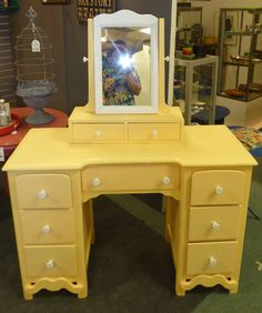 BARGAIN ALERT!!  Painted Vanity from Booth 15.  Seven Drawers - Only $75.00!  (This Vendor has Other Painted Furniture on Sale!  Come Take a LOOK!