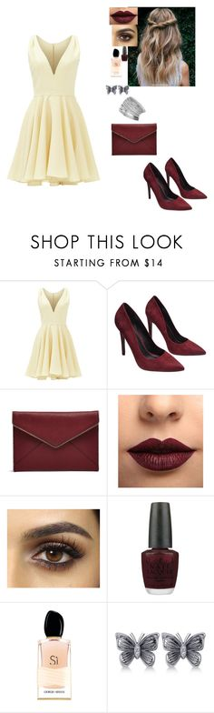 """First date"" by caro-love-love ❤ liked on Polyvore featuring Allison Parris, Wet Seal, Rebecca Minkoff, LASplash, OPI, Giorgio Armani, Allurez and Miss Selfridge"