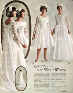 Wedding dresses inside of Eaton's catalogue, Spring/Summer 1965. #page
