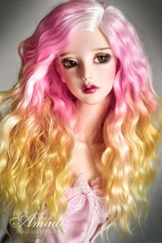 Natural angora goat custom wig. Available for order.  Beautuful three-color curls for your doll. The wig has an elastic cap of white color with an