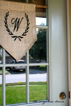 The Virginia House - spray painting burlap - for signs or table runner