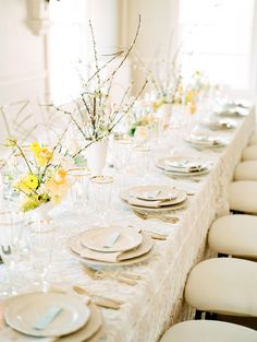 Summer Wedding Inspiration with pops of Yellow – Reception tablescape Wedding Top Table, Wedding Reception Tables, Marquee Wedding, Wedding Table Settings, Place Settings, Reception Ideas, Summer Wedding Destinations, Summer Weddings, Destination Wedding