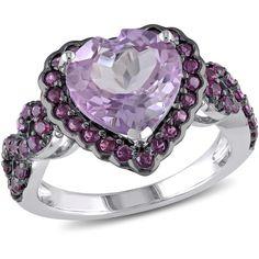4 1/2 CT TGW Rose de France Purple Garnet Silver and Black Rhodium Plated Ring