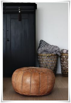 Brown leather Ottoman - Home & Accessories My Living Room, Home And Living, Pouf Cuir, Moroccan Pouffe, Objet Deco Design, Deco Nature, Leather Pouf, Black Leather Ottoman, Brown Ottoman
