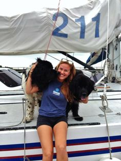 American Promise intern Alyssa and ship's dogs Hickory and Smudge ready to greet guests for a boat tour. Ship Dog, Marine Debris, Naval Academy, Boat Tours, Bikinis, Swimwear, Ted, Sailing, American