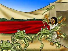 """Adonai said to Moses, ""Say to Aaron, 'Reach out your hand with your staff over the rivers, canals and ponds; and cause frogs to come up onto the land of Egypt.'"" Aaron put out his hand over the waters of Egypt, and the frogs came up and covered the land of Egypt."" (Ex 8:5-6)"