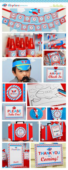Airplane Birthday Party Package Personalized Printable Design by leelaaloo.com