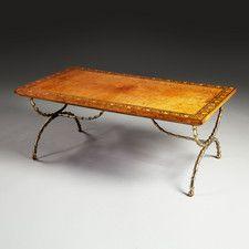 A FINE BURR OAK LOW TABLE