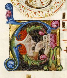 """Iniziale """"A"""" raffigurante un uomo che canta, tratta da Graduale (Italia, 1460 – 1480), Getty Museum, Los Angeles."""