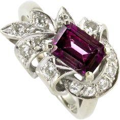 Vintage Pink Tourmaline and Diamond Ring 14k White Gold