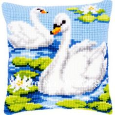 "DIY Needlepoint Kit Vervaco, Cross Stitch Cushion Kit ""Swans"", Embroidery kit, size c Cross Stitch Animals, Cross Stitch Kits, Cross Stitch Patterns, Cushion Embroidery, Embroidery Kits, Pillow Mat, Cross Stitch Cushion, Tapestry Kits, Latch Hook Rugs"