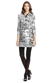 DVF London Embellished Silk Wool Tunic Dress in in Toile Meadow White/ Black