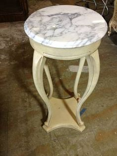 Painted, Marble Top Plant Stand - $125