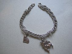 Vintage 7 Sterling Silver Charm Bracelet with by MoonlightMartini, $22.00