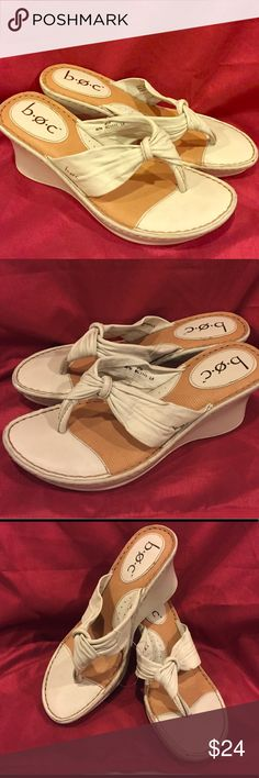 Born BOC Cream leather wedge sandal Size 8 Born Box Cream leather wedge sandal Size 8 EUC please see picture b.o.c. Shoes Wedges