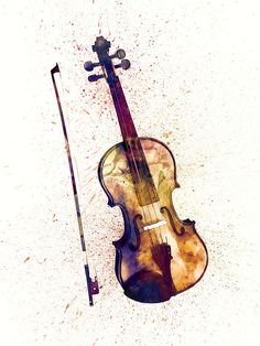 Violin Abstract Watercolor Digital Art by Michael Tompsett