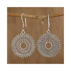 @Overstock - Mystical like chakra wheels, these earrings by Tarang and Manas radiate hypnotic elegance. The earrings are crafted by hand with sterling silver.http://www.overstock.com/Worldstock-Fair-Trade/Sterling-Silver-Journey-Dangle-Earrings-India/5836291/product.html?CID=214117 $92.99