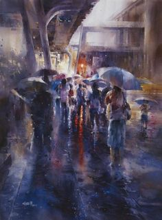 Taibei based painter Lin Ching-Che, created a series of street water paintings depicting people walking in the rainy days. Description from blistar.net. I searched for this on bing.com/images