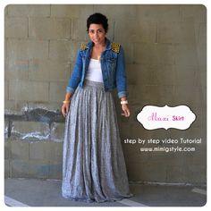 mimi g.: OOTD: DIY Maxi Skirt + Denim DIY Studded Jacket