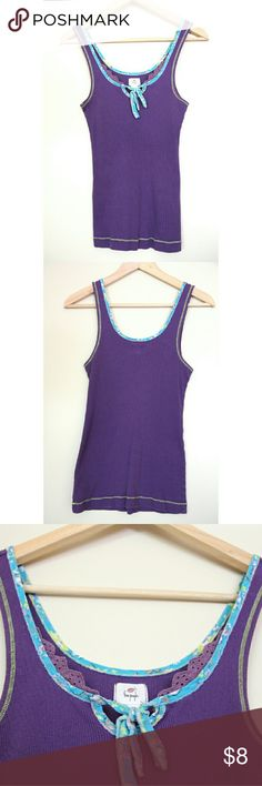 Free People Detailed Trim Tank Top Distressed fabric and stitch work detailed tank top. Good used condition. Free People Tops Tank Tops