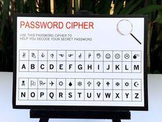 Spy Party or Secret Agent Party Password Cipher | Birthday Party | INSTANT DOWNLOAD via SIMONEmadeit.com
