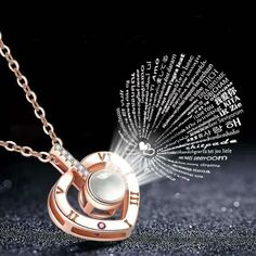 Fast Free Dispatch - 100 Languages 4 options I Love You Necklace Silver Rose Gold valentines gift wife girlfriend partner