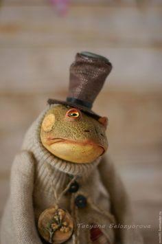 """Купить Мистер Хай""""О - комбинированный, шплинтовое крепление, ладолл, жаба, лягушка, хлопок 100%"""