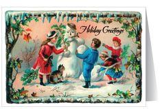 old fashion christmas   Old Fashioned Santa & Sleigh Christmas Card